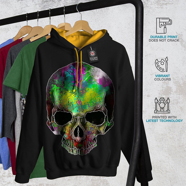 wellcoda Rainbow Paint Skeleton Mens Hoodie Printed on The Jumpers Back