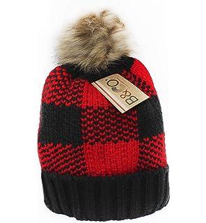 ec4181b114bd4 BNCO Women s Thick Knit Faux Fur Pompom Winter Beanie Hat (6) Styles with  Lurex