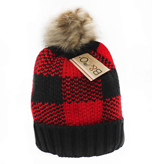 BNCO Women s Faux Fur Pompom Winter Beanie Hat (Buffalo Plaid) at ... 78a54c13a3d