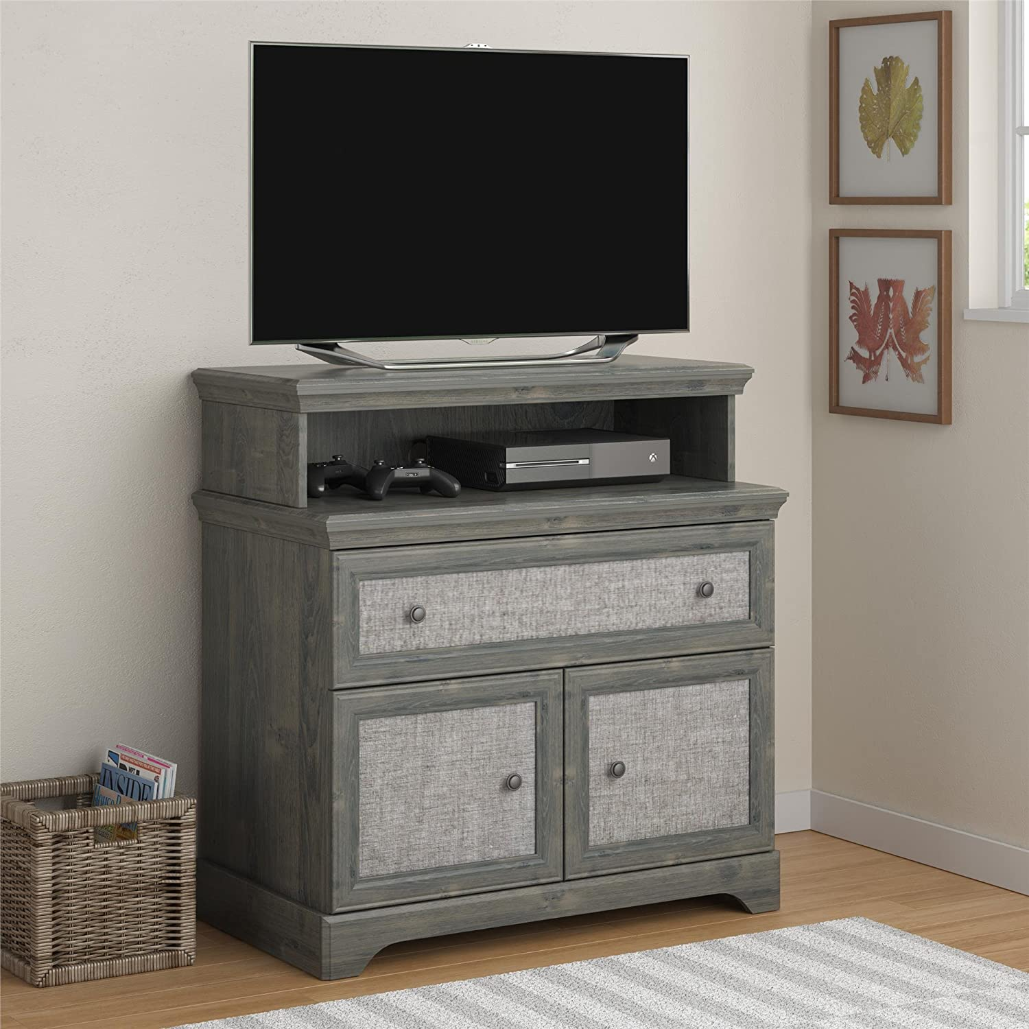 Altra Furniture 5937213COM Stone River Media Dresser with Fabric Inserts, Rodeo Oak Dorel Home Furnishings