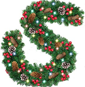 2020 Upgrade 9 Foot by 10 inch Christmas Garland with 50 LED Lights, Cones, Red Berries, Artificial Xmas Spruce Garland for Stair Fireplace Door Home Indoor Outdoor Decorations - Battery Operated