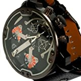 Animoo Monster Montre Homme Noir Marron 2 temps Chronographe Look 60 mm Power XXXL Horloge