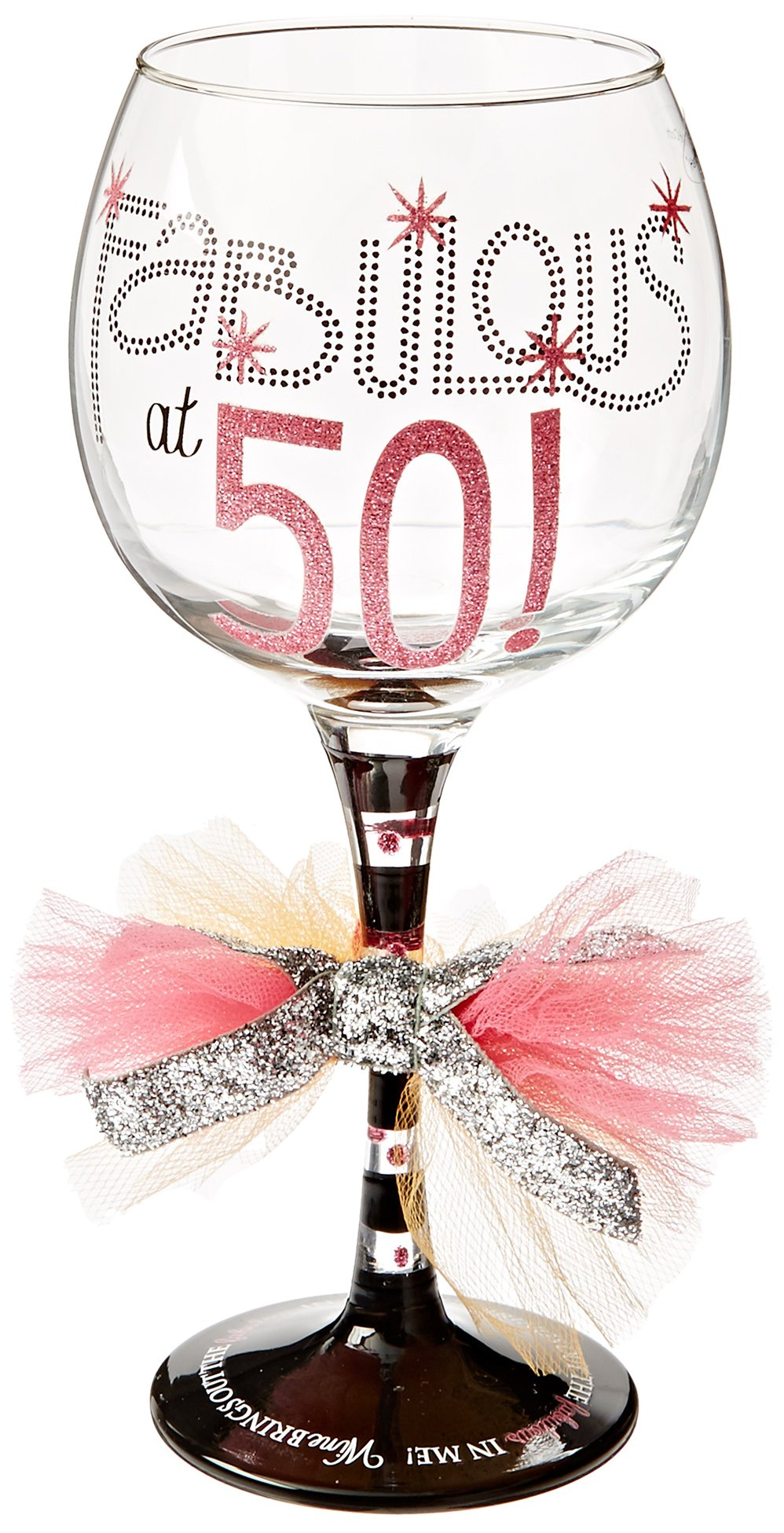 Mud Pie Fabulous at 50 Wine Glass by Mud Pie