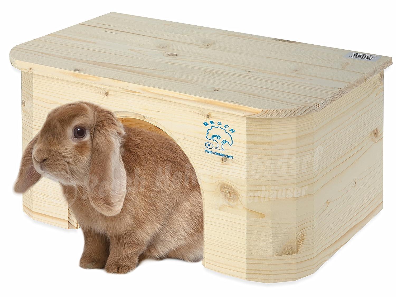 Resch Numéro16 Bungalow pour lapin / Bois massif d'épicéa, non traité / Design arrondi / Dotée d'une entrée extra large Resch Heimtierbedarf
