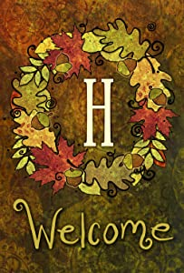 Toland Home Garden Fall Wreath Monogram H 28 x 40 Inch Decorative Autumn Leaves Welcome Initial House Flag