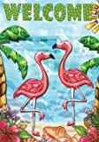"Flamingo Beach Summer Garden Flag Welcome Tropical Palm Trees 12.5"" x 18"""