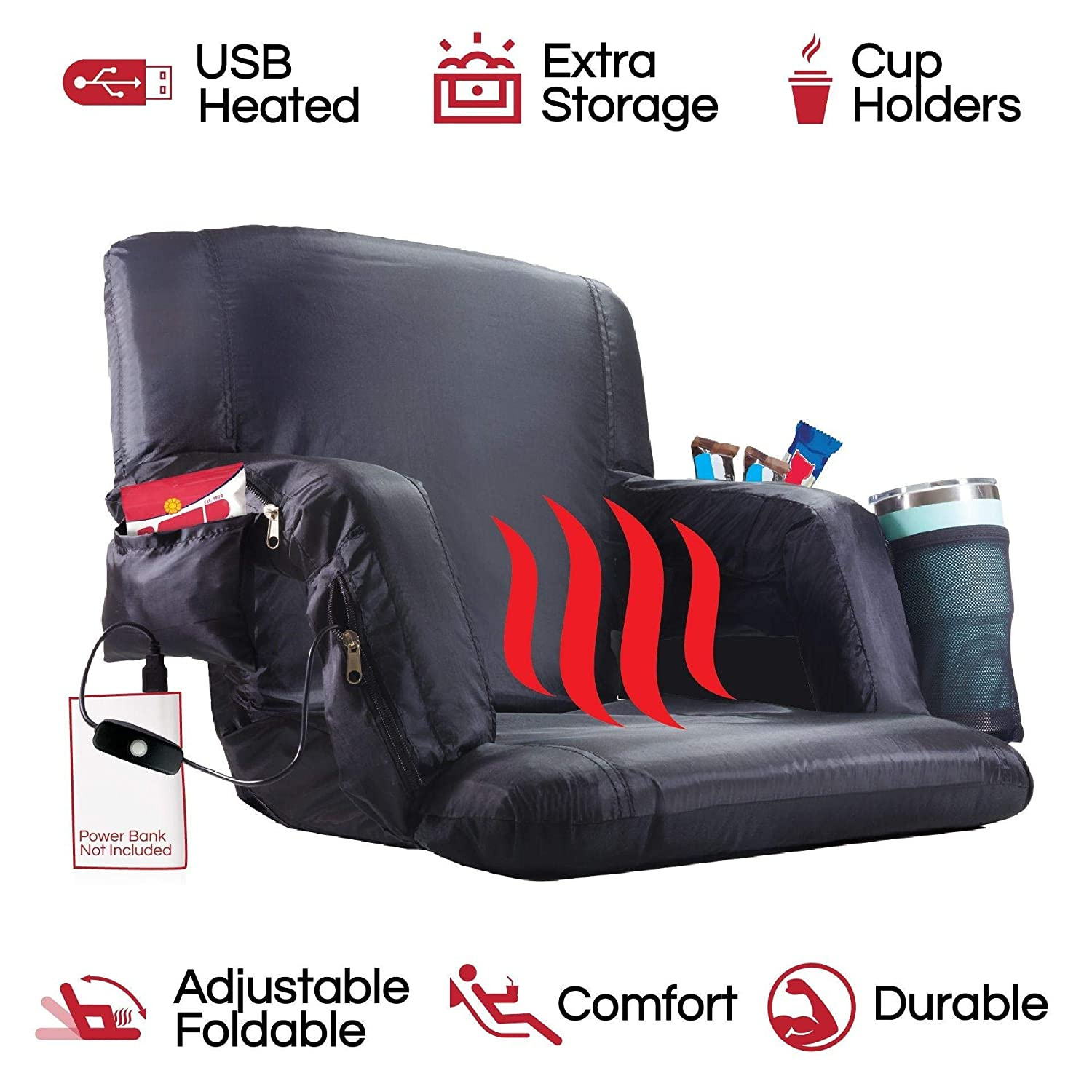 POP Design The Hot Seat, Heated Stadium Bleacher Seat, Reclining Back and Arm Support, Thick Cushion, 4 Storage Pockets Plus Cup Holder, Extra Wide ...
