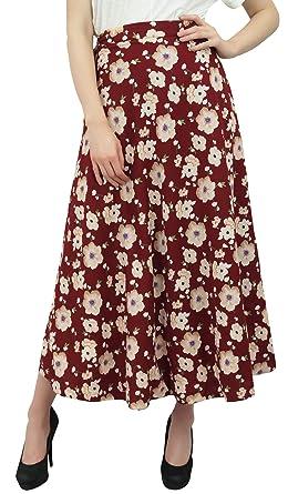 Phagun Wear Impreso Floral de Verano marrón Larga de algodón Falda ...