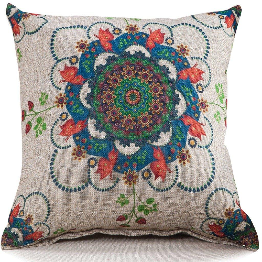 ChezMax Cotton Linen Blend Cushion Square Decorative Throw Pillow Cover Sakura