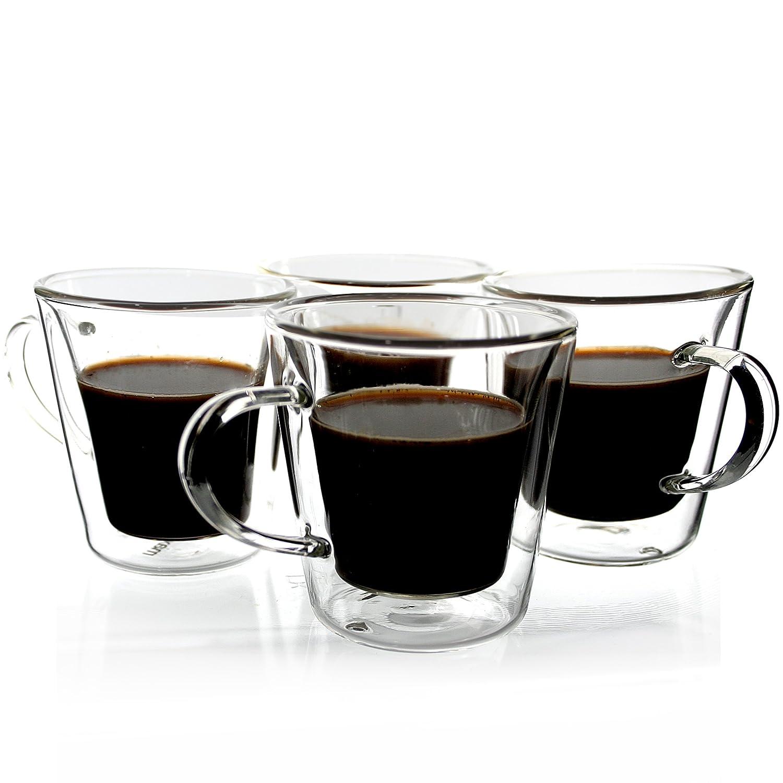 Janazala Espresso Cups Shot Glass Set of 4, Double-Wall Insulated Clear Glass Coffee Cups, Borosilicate Glass, Model