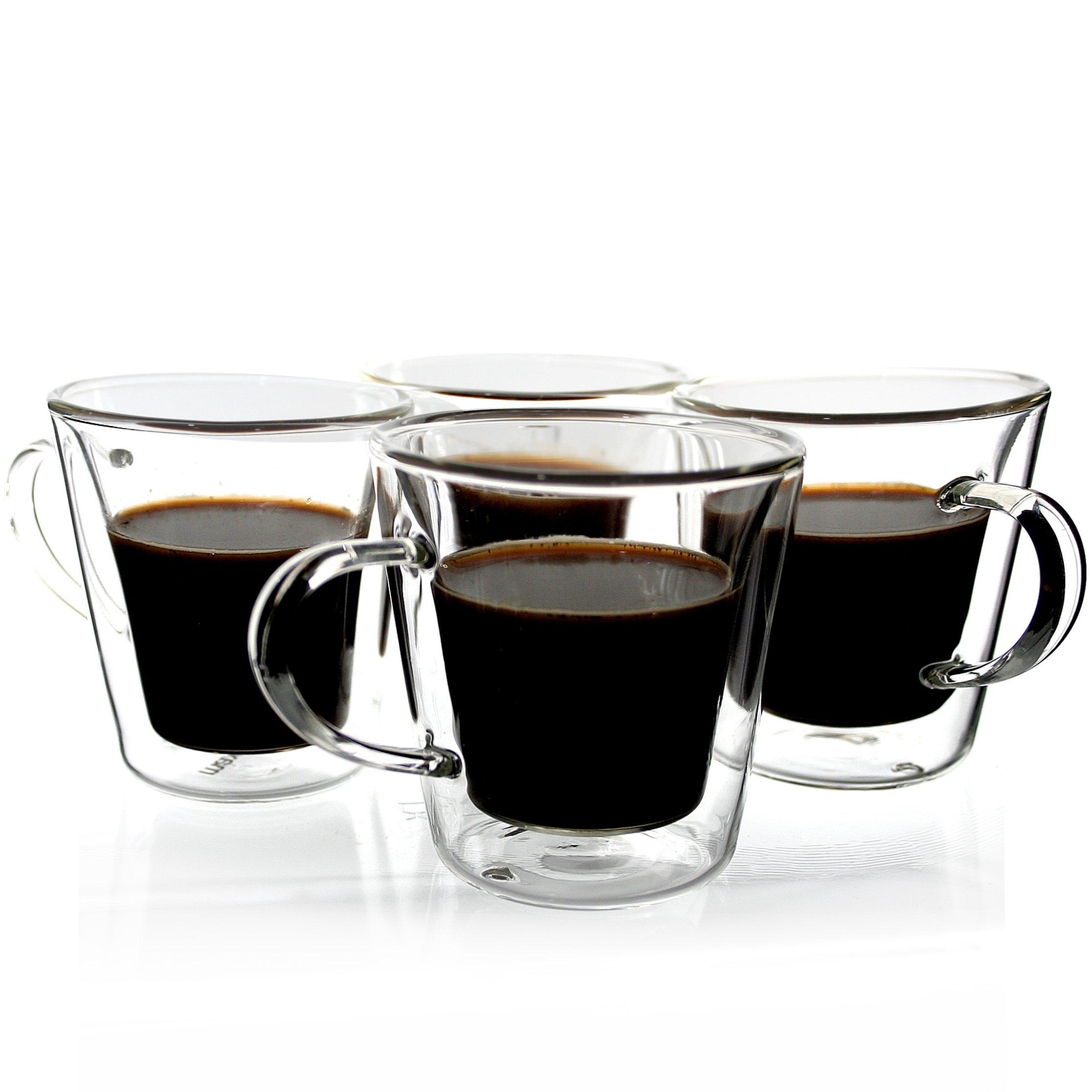 Janazala Espresso Cups Shot Glass Set of 4, Double-Wall Insulated Glass Coffee Cups, Borosilicate Glass, Model TRAPEZIO, 3.5 oz, 100 mililiter