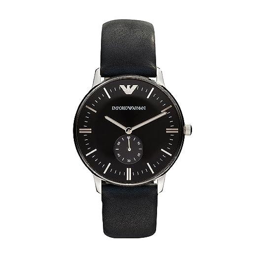 100% Qualitätsgarantie wie man kauft riesige Auswahl an Emporio Armani Men's Stainless Steel Quartz Watch with Leather Strap,  Black, 20 (Model: AR0382)