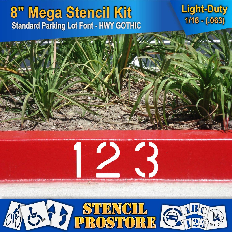 Pavement Stencils - 8 inch MEGA Alpha/NUM Set - (64 Piece) - 8'' x 6'' x 1/16'' (63 mil) - Light-Duty by Stencil ProStore (Image #4)