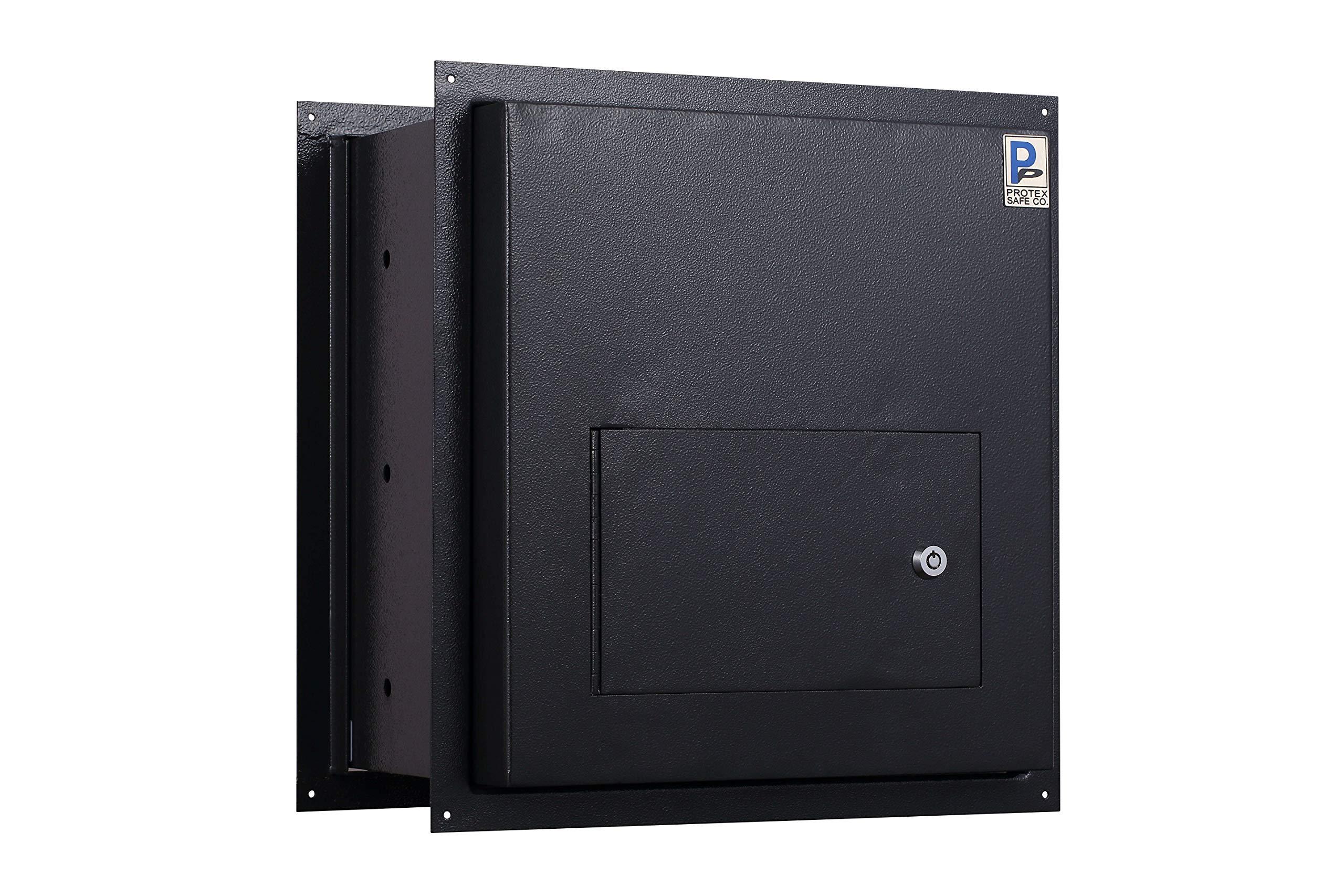 Protex WDD-180 Black Through-The-Wall Locking Drop Box, Black