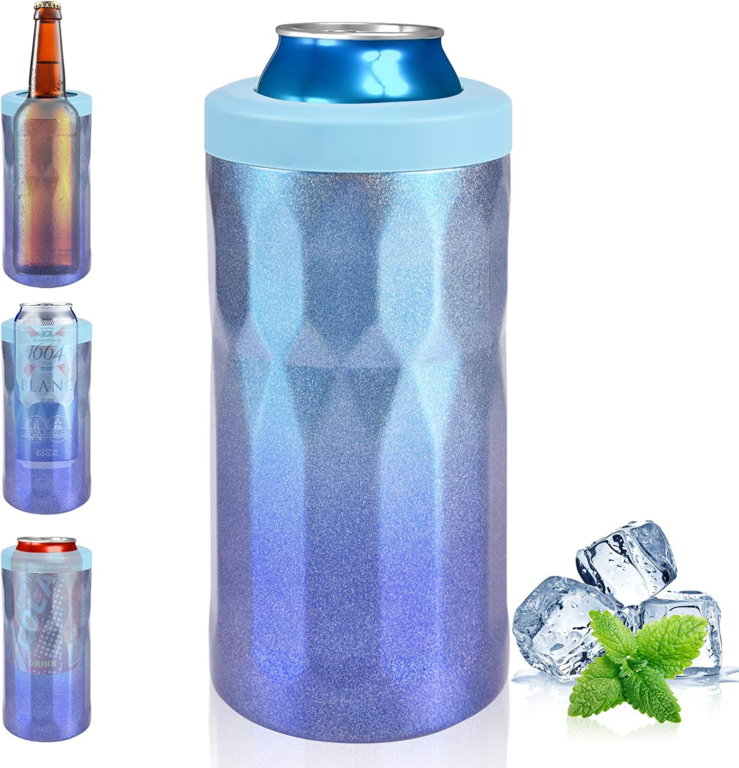 Slim Skinny Can Cooler Double Walled Vacuum 4 in 1 Stainless Steel Insulator Can Cooler for Beer Bottle Drinking Cup Standard Can 12 Oz