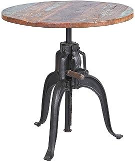 Hohenverstellbarer Tisch Mit Metallgestell Und Holzplatte Im