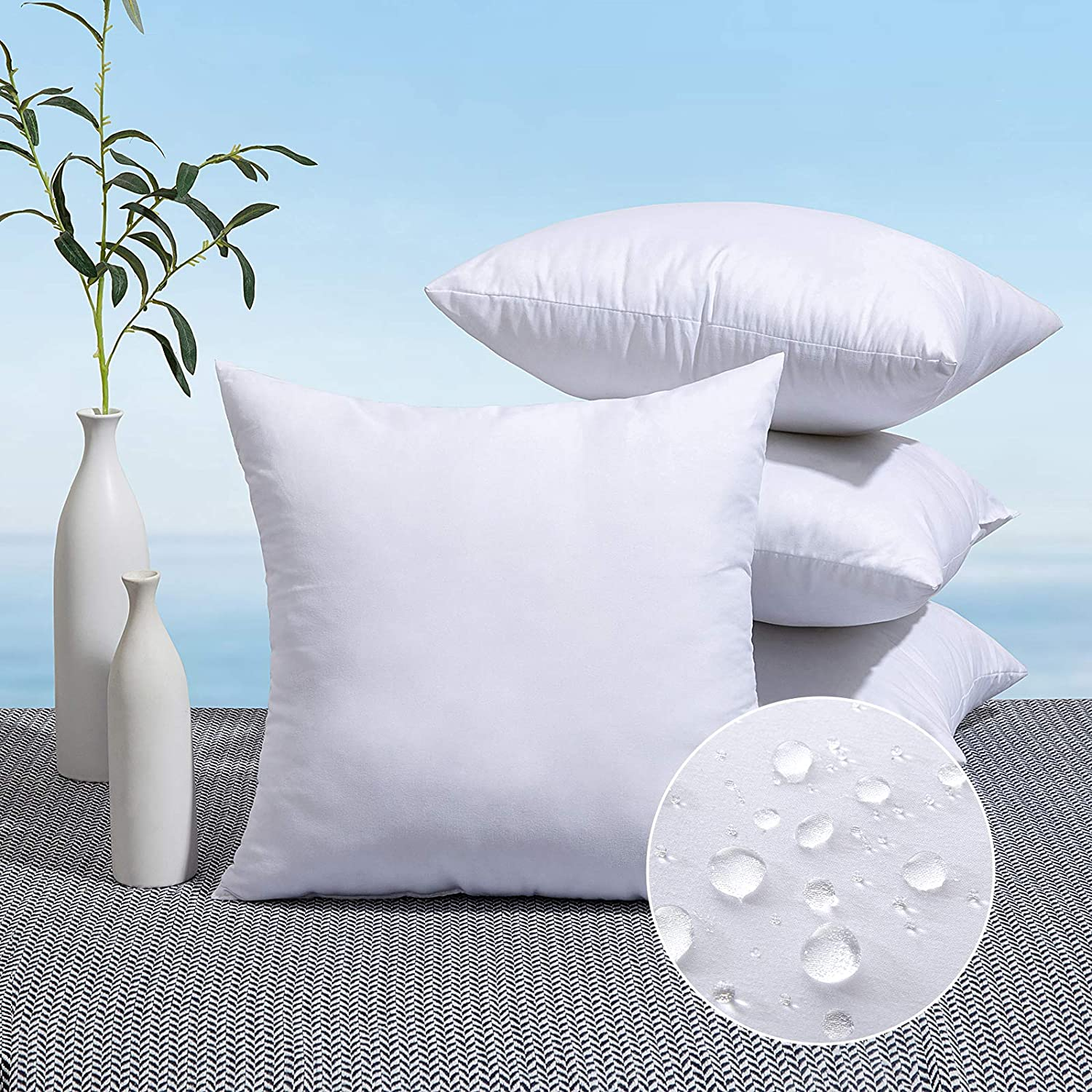 MIULEE Pack of 4 Outdoor Pillow Inserts Waterproof 18x18 Throw Pillow Inserts Premium Hypoallergenic Pillow Stuffer Sham Square for Patio Furniture