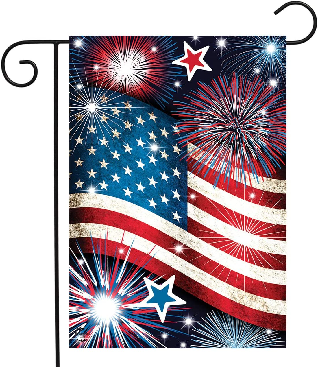 "Briarwood Lane Stars and Stripes Patriotic Garden Flag Fireworks 12.5"" x 18"""
