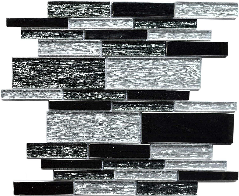 - Amazon.com: Koozzo Rectangular Glass Linear Mosaic Tile, 11.8'' X