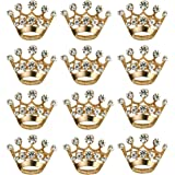 ULTNICE 12pcs Tiara Crown Brooch Pin Wedding Party Pageant Brooch (Gold)