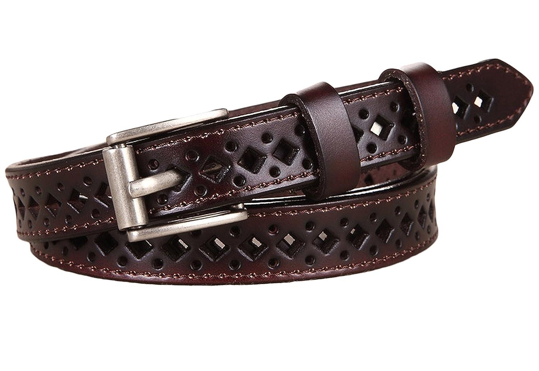 Ayli Womens Metal Buckle Hollow Diamond Shape Genuine Leather Skinny Belt
