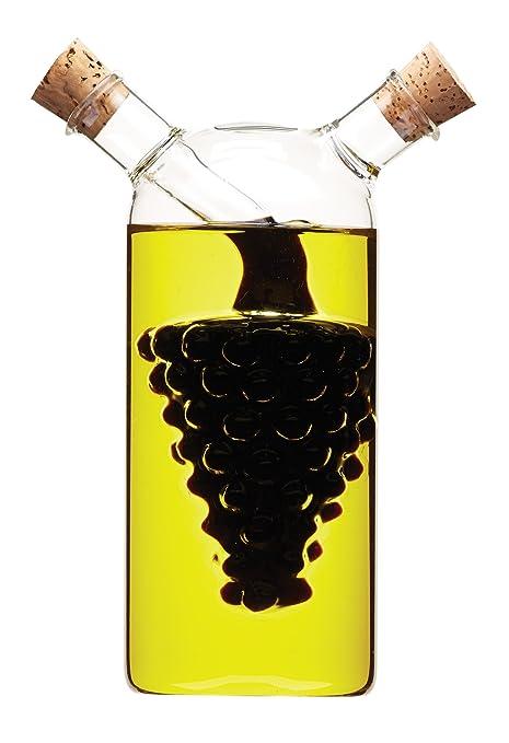5 opinioni per World of Flavours- Bottiglia di vetro 2 in 1 per olio e aceto, motivo: Grappolo