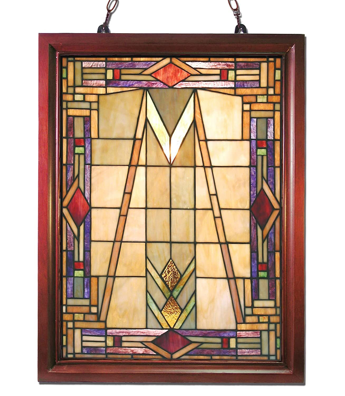 Amazon.com: Tiffany-style Mission Glass Window Panel: Home & Kitchen
