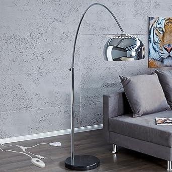 BIG BOW BOGENLEUCHTE CHROME RETRO DESIGN LAMPE Dimmbar Mit DIMMER Lounge  Stehlampe Silber