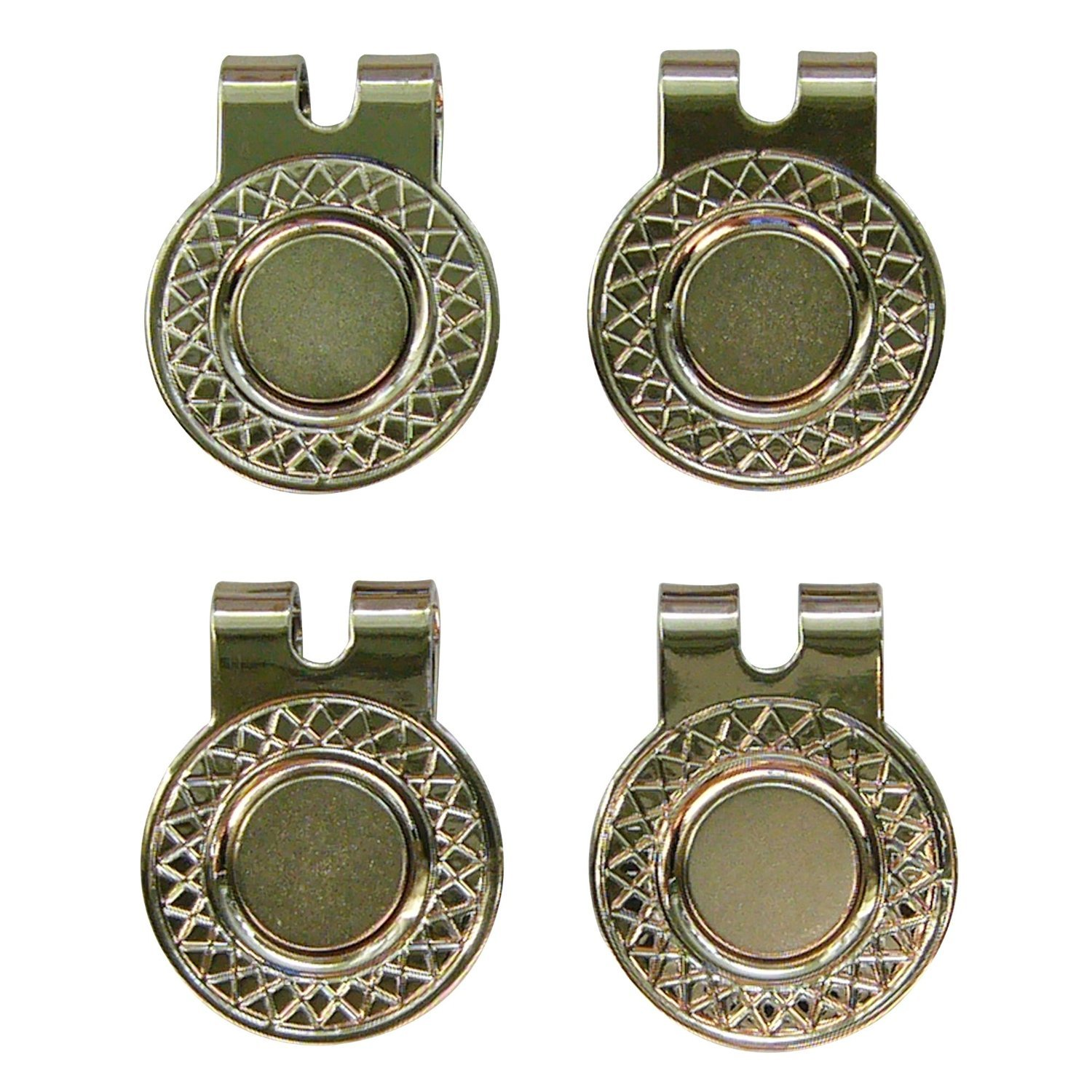 4 Silver Magnetic Hat Clips for Metal Golf Ball Markers (Type #1) by BUSHMANCRAFT (Image #1)