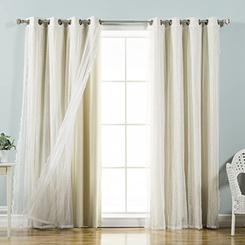 Best Home Fashion Mix Match Dotted Tulle Lace Solid Blackout Curtain Set Antique Bronze Grommet Top 52 W x 84 L, Beige