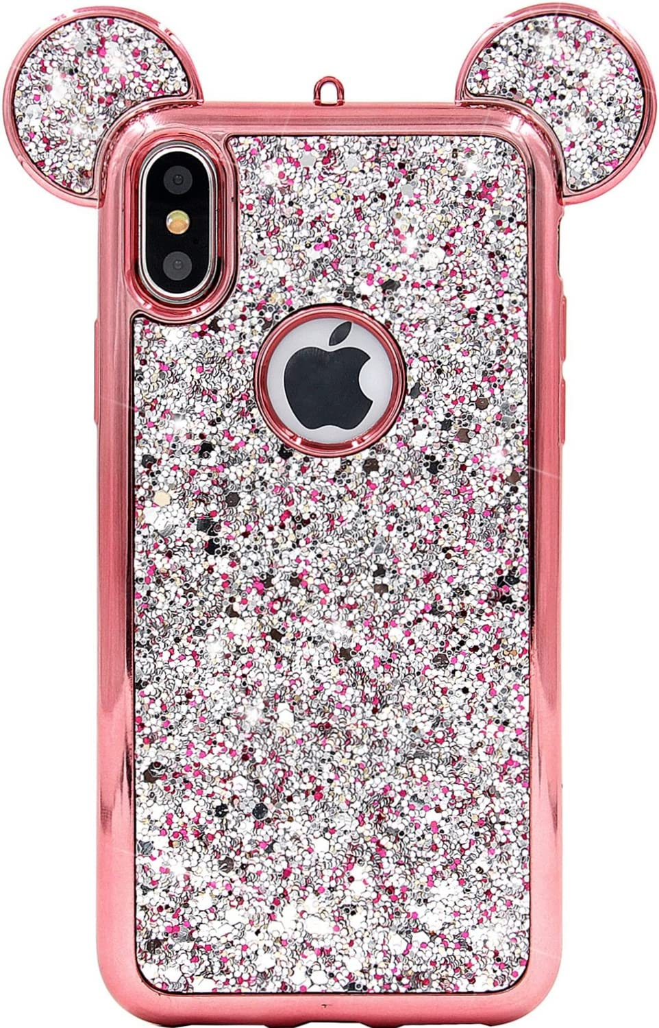 iPhone Xs Max Case, MC Fashion Cute Sparkle Bling Glitter 3D Mickey Mouse Ears Soft TPU Rubber Case Teens Girls Women for Apple iPhone Xs Max (2018) 6.5-Inch (Rose Gold)