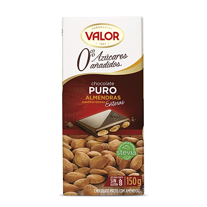 Chocolates Valor - Chocolate puro con almendras - 150 g - [pack de 3]: Amazon.es: Alimentación y bebidas