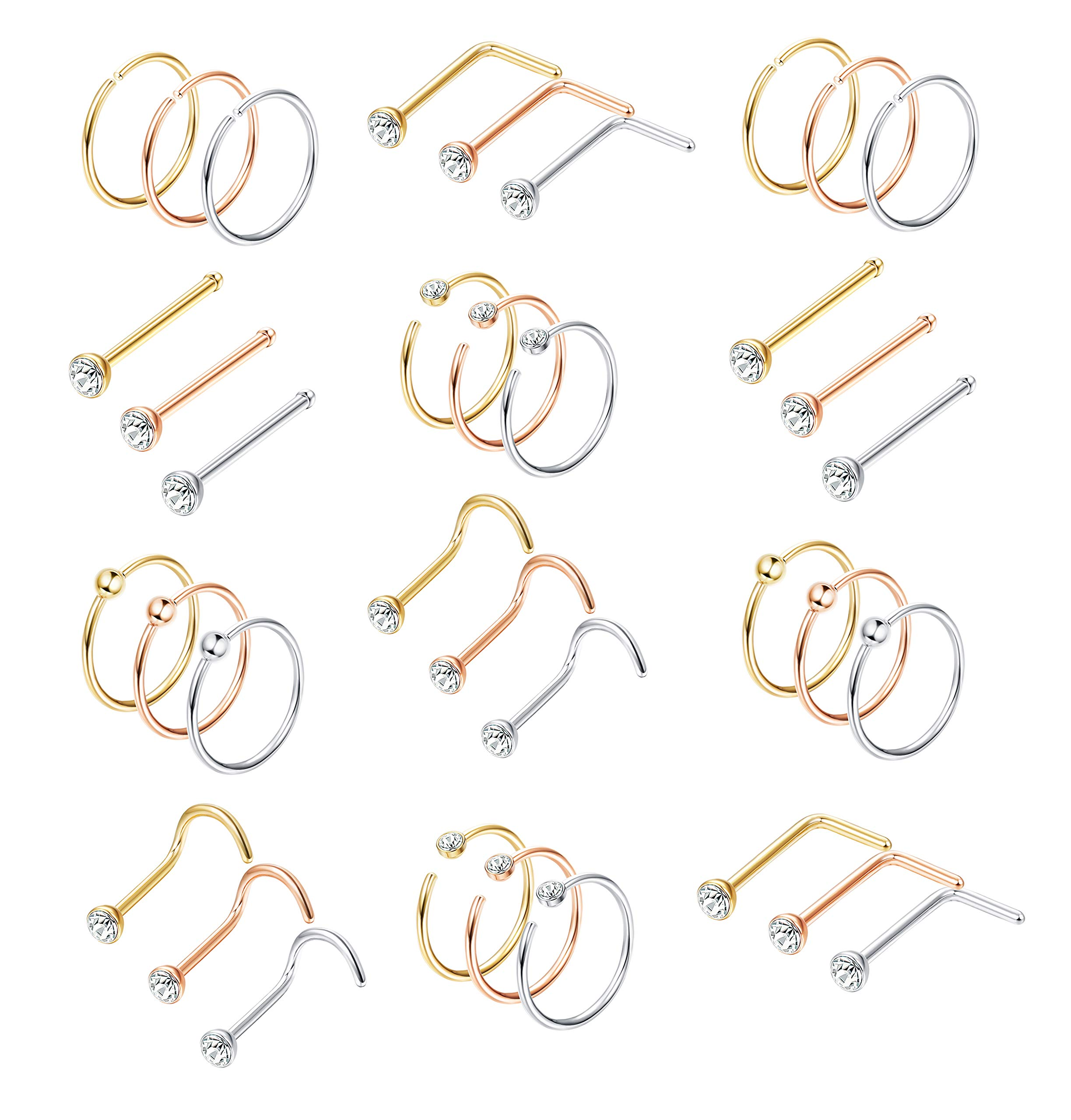 Milacolato 36Pcs 316L Stainless Steel Nose, Gold-Silver-Rose-Gold, Size No Size by Milacolato