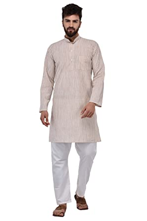 Indian Ethnic Design Khadi Mens Kurta Regular Casual Cotton Fabric Kurtas SZ M