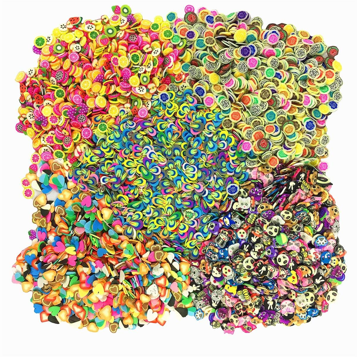 5000 Pcs (1000Pcs/Pack) 3D Polymer Fimo Slices DIY Nail Art Slime Supplies Charms Slime Making Kit Decoration Arts Crafts(Fruit,Rose,Love,Animal,Feather) by Sunnyproduct