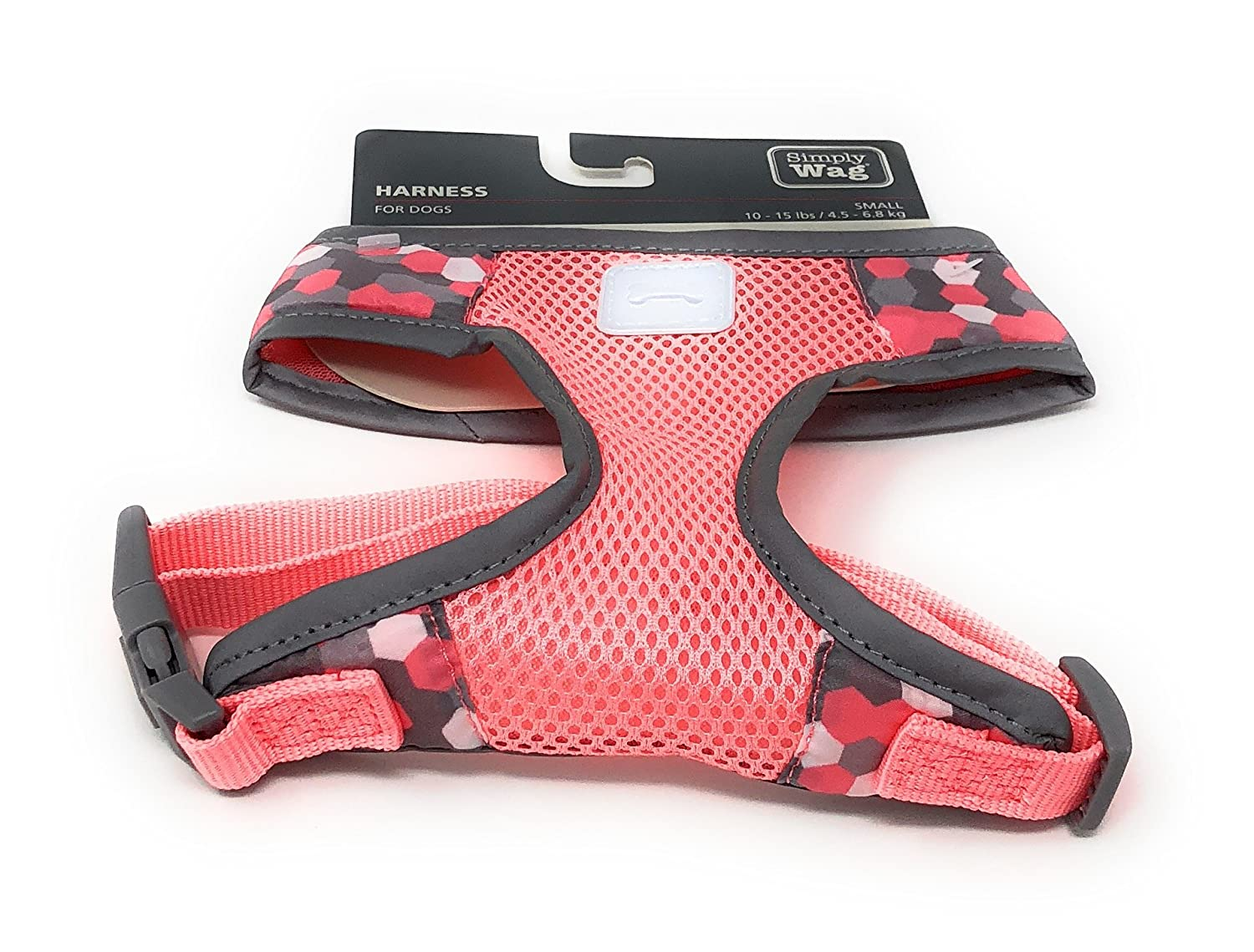 Simply Wag T-Strap Dog Harness   10-15 lbs   Coral Honeycomb