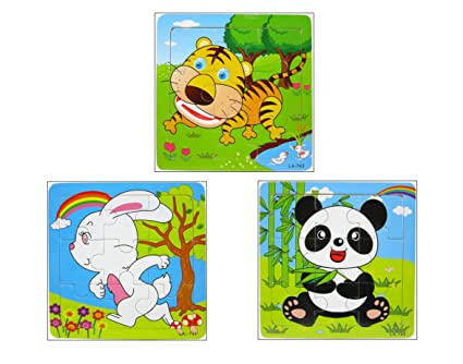 Yoyolala Animals Wooden Peg Puzzles Set-Panda,Tiger,Rabbit(9 pcs each)
