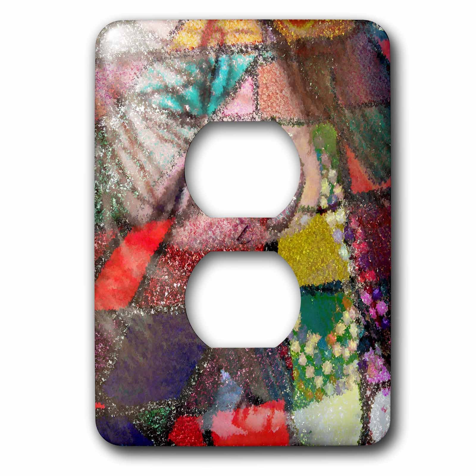 3dRose Jos Fauxtographee- Blended Layers High Fashion - A high fashion woman in a colorful pattern with beads - Light Switch Covers - 2 plug outlet cover (lsp_263421_6)