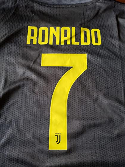 2018-2019 Away Home C Ronaldo #7 Juventus Kids Youth Soccer Jersey & Shorts & Socks Black Quality material!