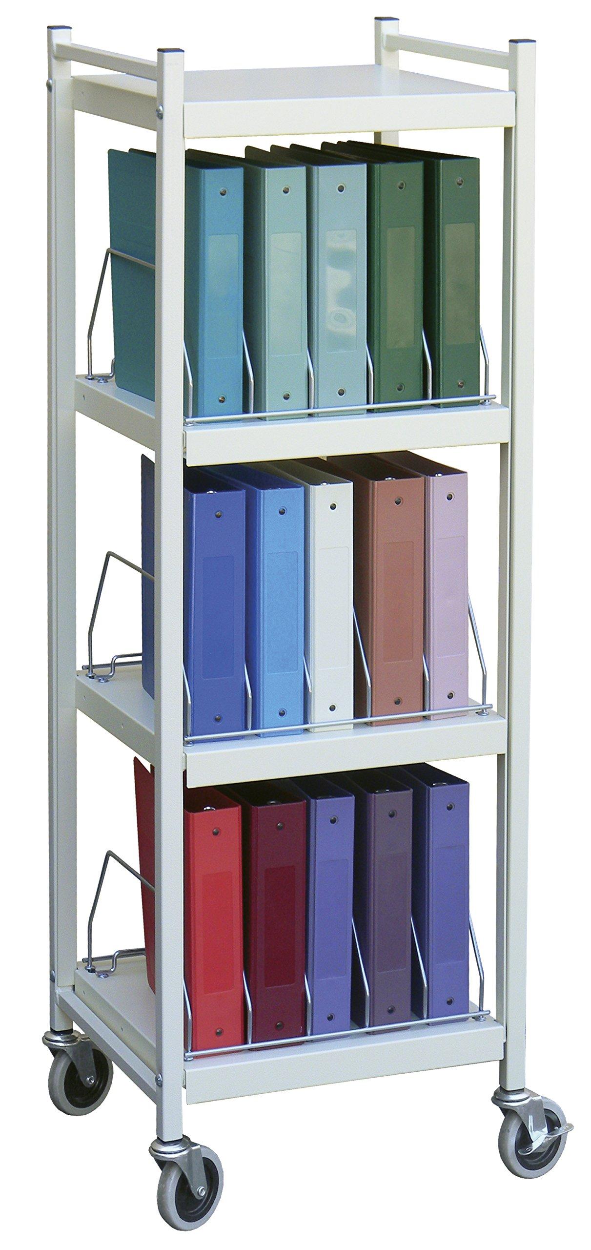 Mini Open Chart Rack 4 Shelves 15 Binder Capacity (Light Gray)