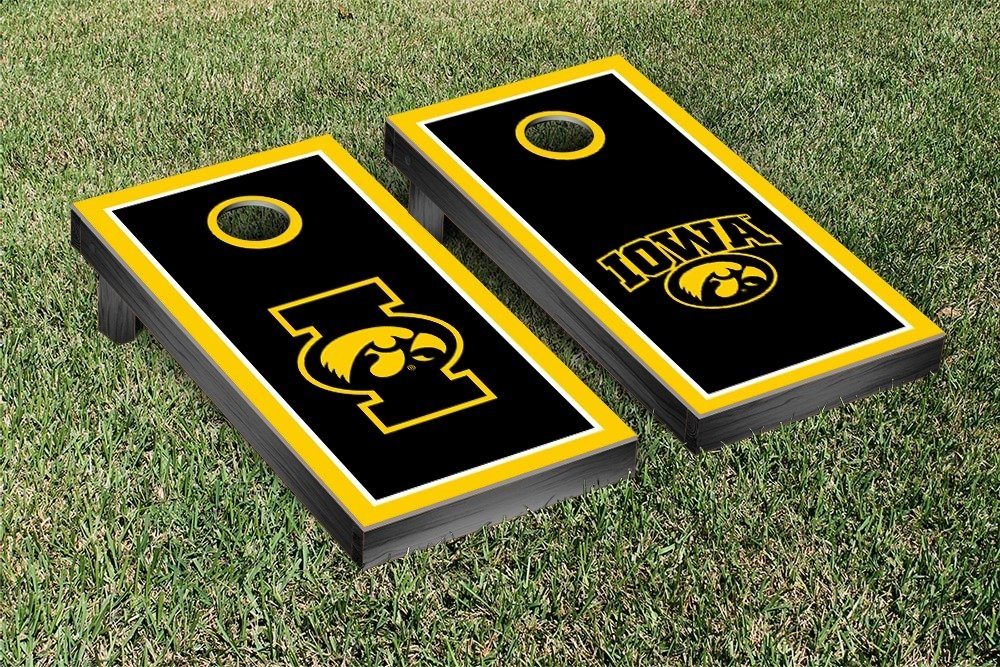 University of Iowa Hawkeyes Cornhole Game Set Alt Border Wooden by Victory Tailgate (Image #1)