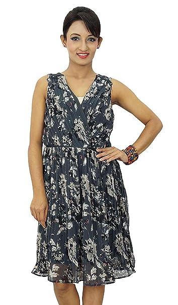 Georgette indio vestido de las mujeres Vestido de tirantes Short Beach Summer Casual
