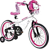 "Dynacraft Hello Kitty Girls BMX Street Bike 18"", White/Black/Pink"