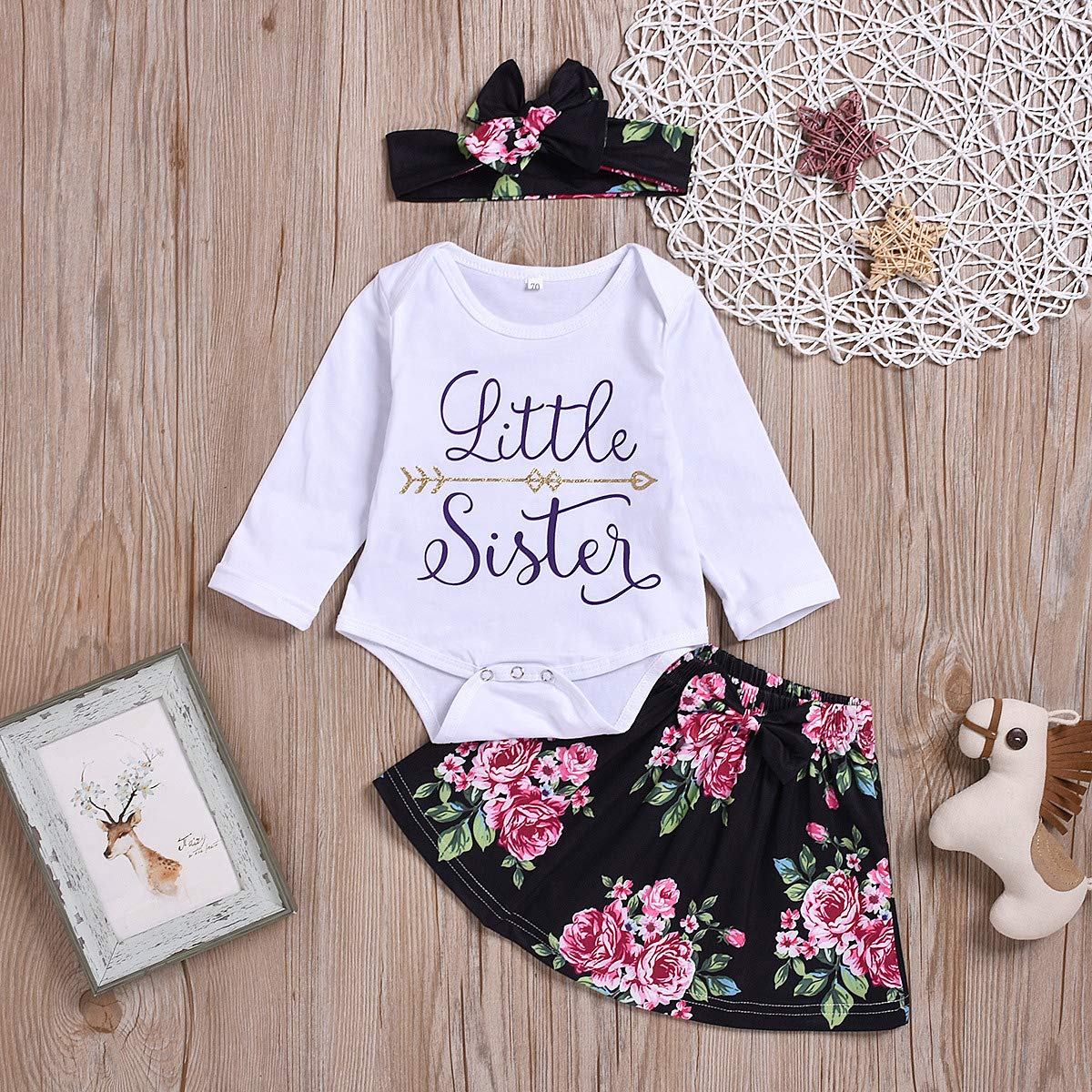 puseky Baby Girls Big Little Sister Matching Family Clothes Romper+Floral Pants+Headband Outfits Set