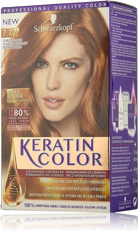 Keratin Color de Schwarzkopf, Tono 7.77 Cobrizo Dorado, Coloración Permanente, Pack de 2