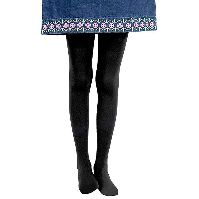 Girls Leggings Black w// Hearts Design Girls Fashion Tights Size Large - Ages 7-10 Years