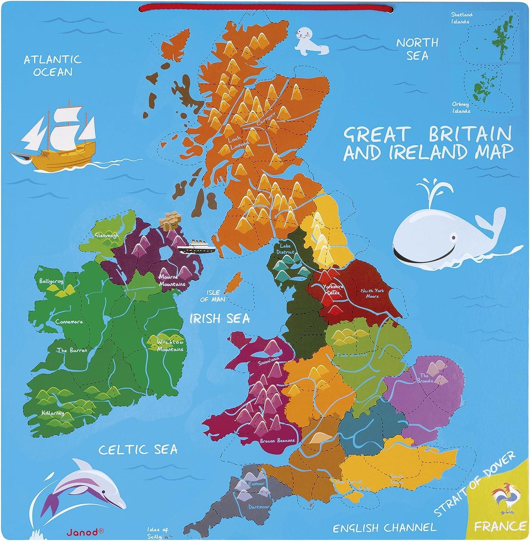 Janod - Mapa magnético de Gran Bretaña y Irlanda (Juratoys J05484): Amazon.es: Juguetes y juegos