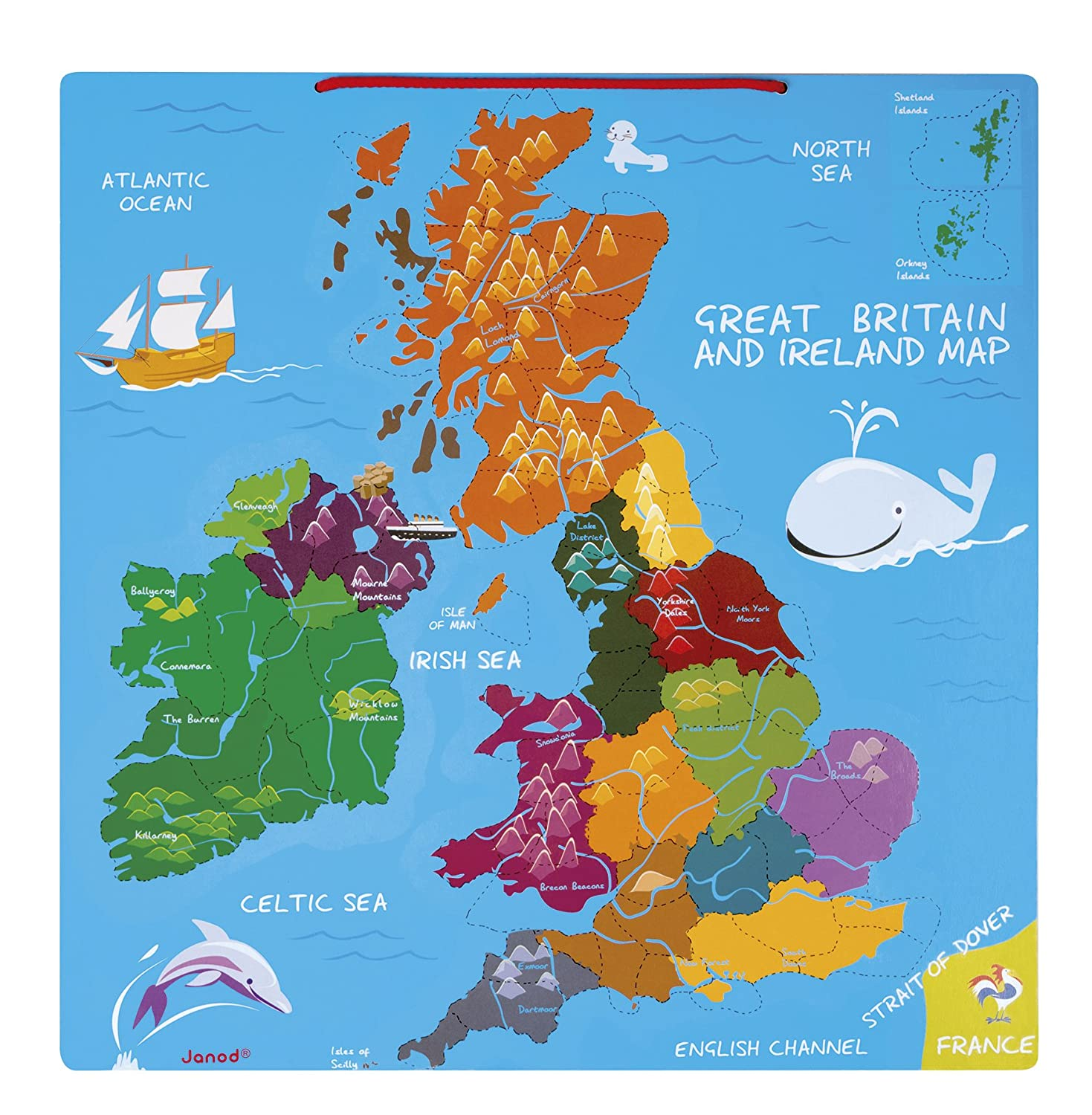 Jura Toys J Janod Magnetic Great Britain And Ireland Map - Map of great britain and ireland