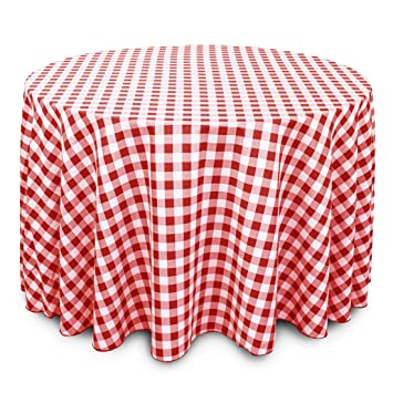 Good LinenTablecloth 108 Inch Round Polyester Tablecloth Red U0026 White Checker