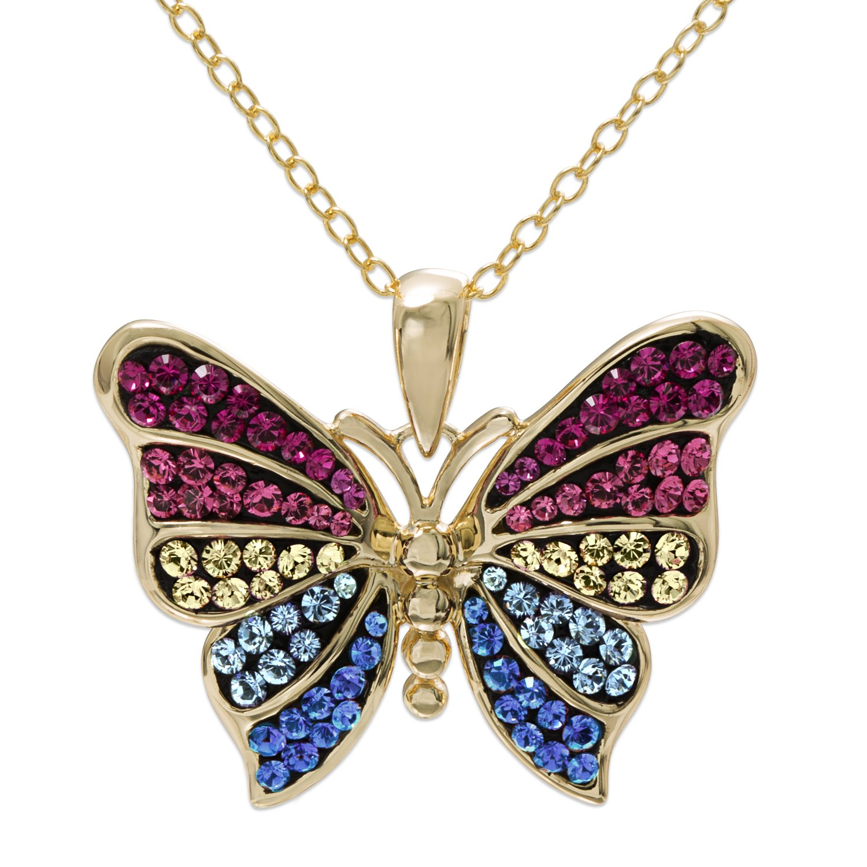 Crystalogy Sterling Silver Swarovski Crystal Butterfly Animal Pendant Necklace for Women, 18''
